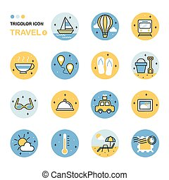 travel thin line icon collection in flat style