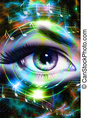 Woman Eye and music note and cosmic space with stars. Audio...