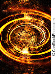 Ancient Mayan Calendar and  Music note, Cosmic space with stars, abstract color Background, computer collage. light circular in space.
