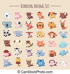 adorable running animals collection