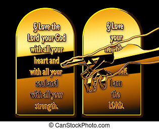 commandments - Two plates with 10 commandments with a hand