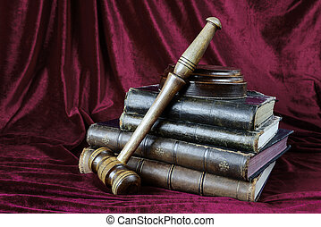 Wood gavel and stack of old books - Wood gavel, soundblock...