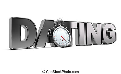 Speed Dating - Word dating with stopwatch over white...