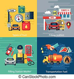 Fuel Station Concept Icons Set - Fuel station concept icons...