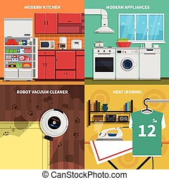 Household Appliances Concept Icons Set