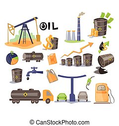 Oil Icon Set Vector Illustration - Oil Icon Set Flat Vector...