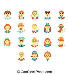 Faces People of Different Professions. Vector Illustration Set