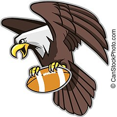 Flying Bald Eagle Grab Football - Vector illustration of...