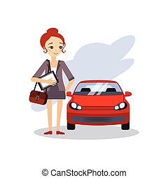 Parking at Work. Daily Routine Activities of Women. Vector...
