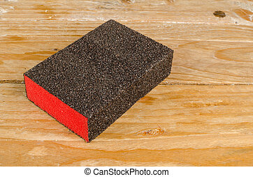 Block of sand paper - Block of very coarse sand paper on a...