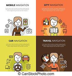 Navigation Design Concept - Flat color design concept set of...