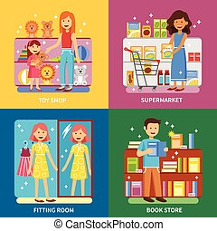 Shopping Concept 4 Icons Banner Square - Shopping concept 4...