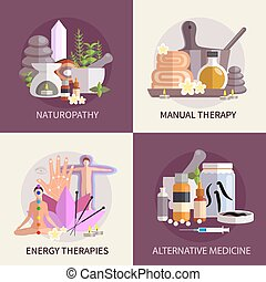 Alternative Medicine Design Concept Set - alternative...