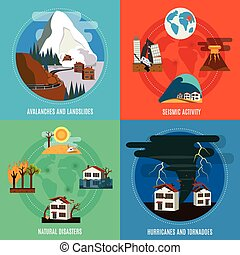Natural Disaster 4 Flat Icons Set - Natural Disaster 4 flat...