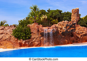Waterfall in park at Tenerife - Canary Spain - Waterfall in...