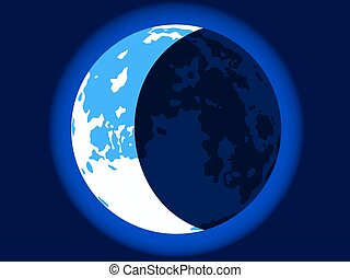 Blue crescent moon - Illustration of the crescent blue moon...