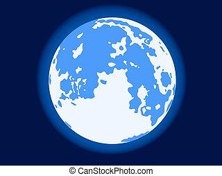 Blue moon - Illustration of the full blue moon on dark sky...