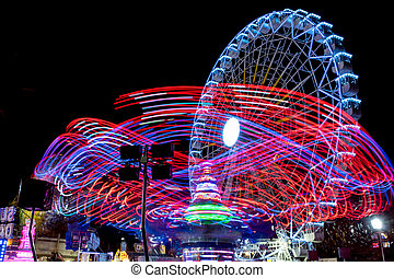 Drawings of lights and fair ferris wheel background -...