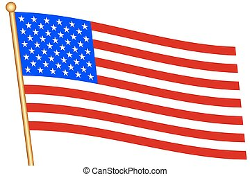 USA flag - Flag of the United States and flagstaff All...