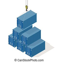 Pyramid of sea containers The top container lowered the...
