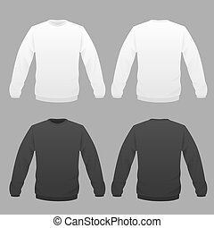 hoody white and black - Hoody template set, front and back...