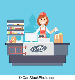 Cashier - Supermarket store counter desk equipment and clerk...