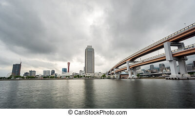 Kobe skyline time lapse at the port, cloudscape - Clouds...