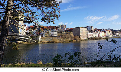 Border river - view to the Neisse River and Zgorzelec, the...