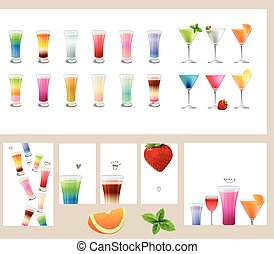 Set with different kinds of drinks - cocktails, wine, juice,...