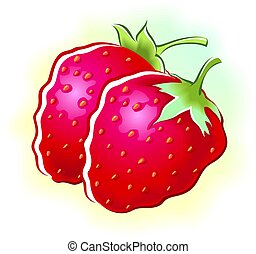 strawberry - Illustration of two strawberry