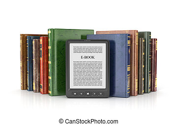E-book reader with stack of the book on a white background.