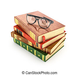 Stack of books with a pair of eyeglasses on top.