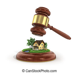 Concept of suing for property 3d illustration of wooden...