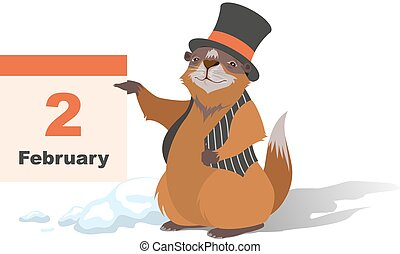 Happy Groundhog Day. Marmot holding February 2. Illustration...