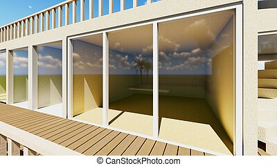 Patio Lounge in the evening - Patio Lounge at Sunset -...