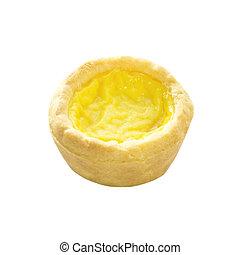Egg custard tart chinese dessert on white background