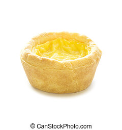 Egg custard tart sweet dessert on white background