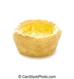 Egg custard tart sweet dessert on white background