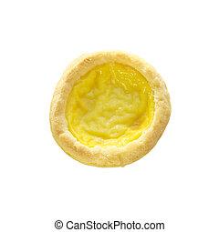 Egg custard tart sweet dessert on top view and white...