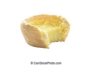 Bite egg custard tart sweet dessert on white background