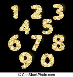 Numbers set in golden style. Vector illustration gold...
