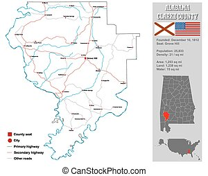 Alabama Clarke County Map - Large and detailed map and infos...
