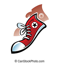 Red Sneakers - Pair of red canvas sneakers