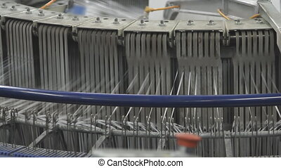 spinning machine in a factory - Textile industry - spinning...