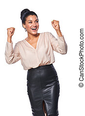 Business woman celebrating success - Excited business woman...