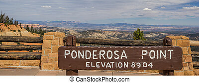 Sign at Ponderosa Point in Bryce Canyon National Park, USA