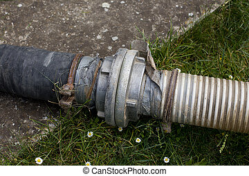 Sewage pipes for extracting septic water from cesspit in...