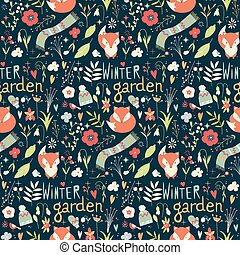 Seamless pattern with winter garden flowers, foxes and...