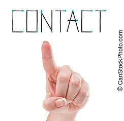 Contact us concept using female hand and safety matches -...