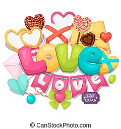 Greeting card with hearts, objects, decorations Concept can...